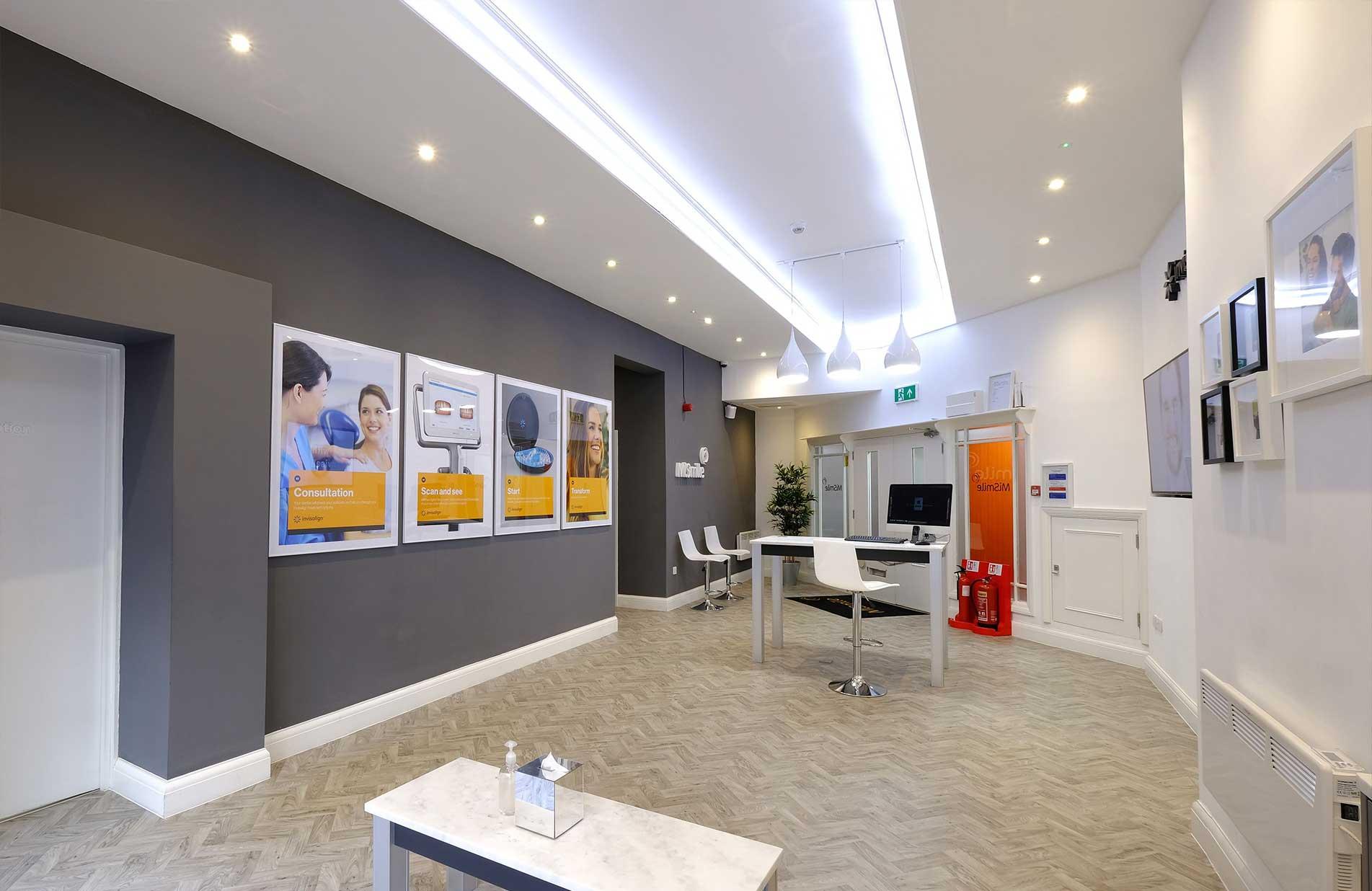MiSmile Birmingham Dental Practice Reception design and build